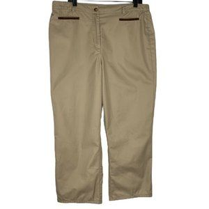 Orvis Cropped Pants Pockets Flat Front Casual Tan